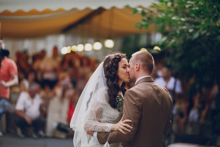 51881147 - authentic wedding wonderful young couple with incredible scenery